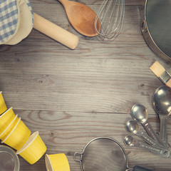 Baking tools in square composition