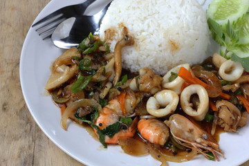 thai sea food spicy with rice