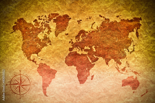 Poszter vintage paper  with world map