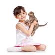happy child girl holding kitten isolated