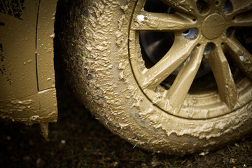 Muddy car's wheel
