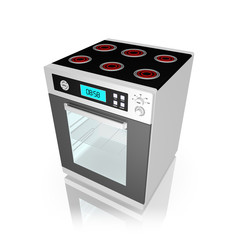 Modern electric stove , on white background