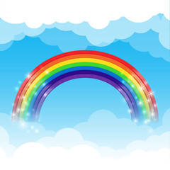 Rainbow cloud and sky background
