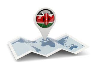 Round pin with flag of kenya