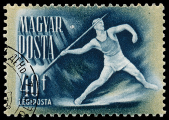 Stamp printed in Hungary shows javelin-throwing