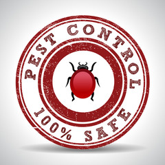 Pest control 100% safe grunge rubber stamp on white