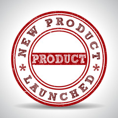 New product launch grunge rubber stamp on white background