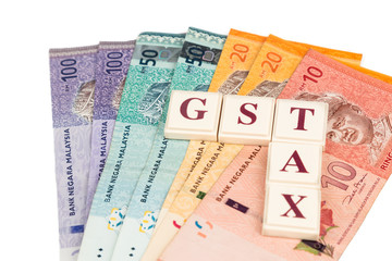 GST concept with Text and Malaysian Ringgit