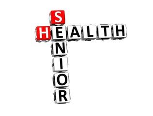 3D Crossword Senior Health on white background