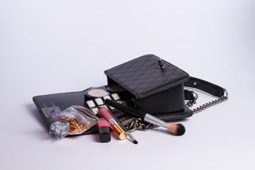 makeup bag and cosmetics