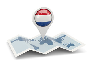 Round pin with flag of netherlands