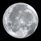 Close up of full moon isolated on black background