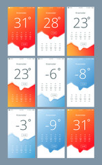 set vector phone interface with the weather