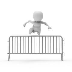 フェンスを飛び越える人