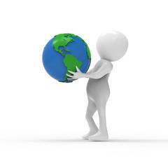 地球儀を持つ人
