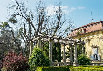Buchlovice castle with gardens in spring