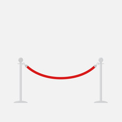 Red rope barrier stanchions turnstile Isolated template Flat