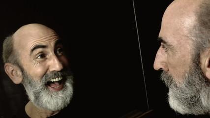 Schizophrenia split personality smiling serious