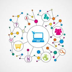 ordinateur,réseau-connexion concept