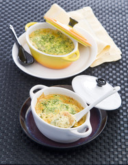 small flans with prawns