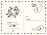 Vintage postcard background template for wedding invite card