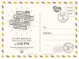 Vintage postcard background template for wedding invite card