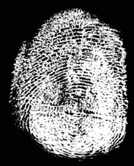 white finger print isolated on black illustration