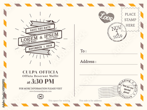 Vintage postcard background template for wedding invite card - 80061918