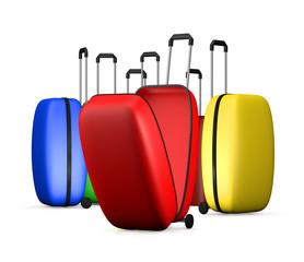 Multi-colored suitcases