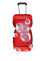 Open suitcase with bubbles