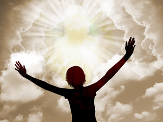 Woman worship and praise to God