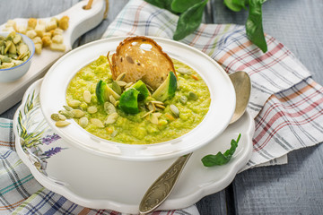 Thick vegetable soup puree with Brussels sprouts, croutons