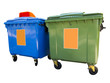 Leinwanddruck Bild - New colorful plastic garbage containers isolated over white