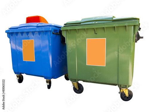 Leinwanddruck Bild New colorful plastic garbage containers isolated over white