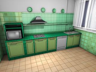 Cucina rustica verde