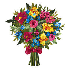 Bouquet of pink peonies and roses , yellow irises, blue Forget-m