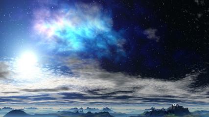 Bright nebula above the clouds