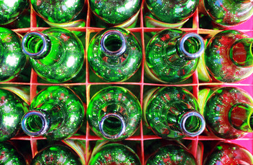 Beer Bottles of Green Glass.