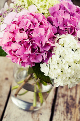 Bouquet of hydrangea flowers in vase