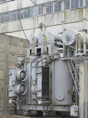 Huge industrial high-voltage substation power transformer on rai