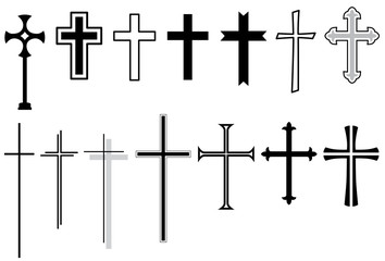 Set: Kreuz, Kruzifix, Vektor, schwarz, freigestellt