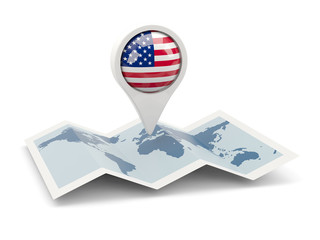 Round pin with flag of united states of america