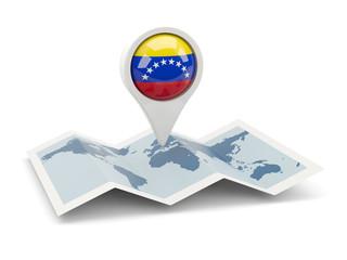 Round pin with flag of venezuela