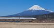 Bullet train Tokaido Shinkansen with view of mountain fuji - 80066521