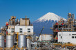 Japan oil refinery plant with mountain Fuji in background .