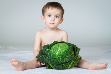 Little boy with big cabbage, studio shot