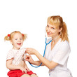 doctor performs auscultation of  baby kid