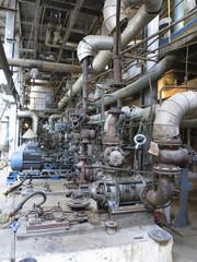 Electric motors driving industrial water pumps during repair