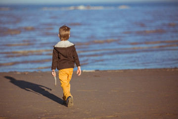 A boy is coming to the sea with a stick in his hand