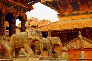 Nepalese statues of elephants
